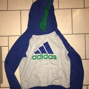 Adidas Boys medium 10 12 green blue hoodie